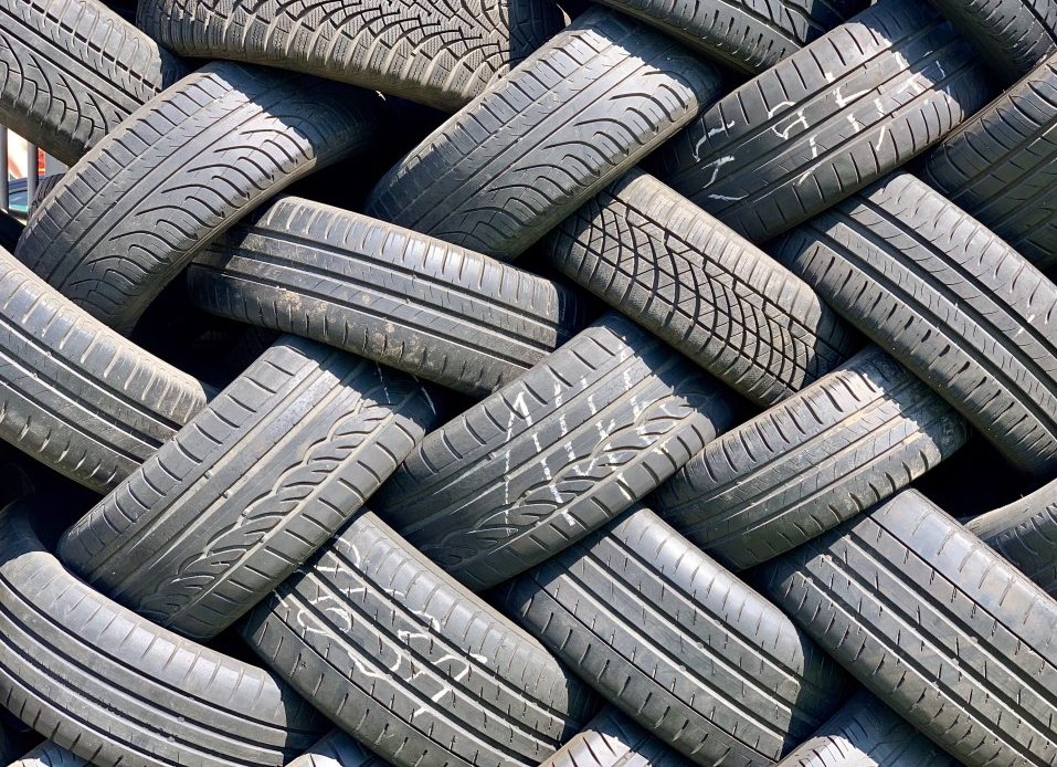 various truck tires from tire blowouts in a junkyard